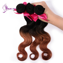 Cheap brazilian ombre hair extension ombre human hair weave virgin hair body wave hair product in stock 1 bundles