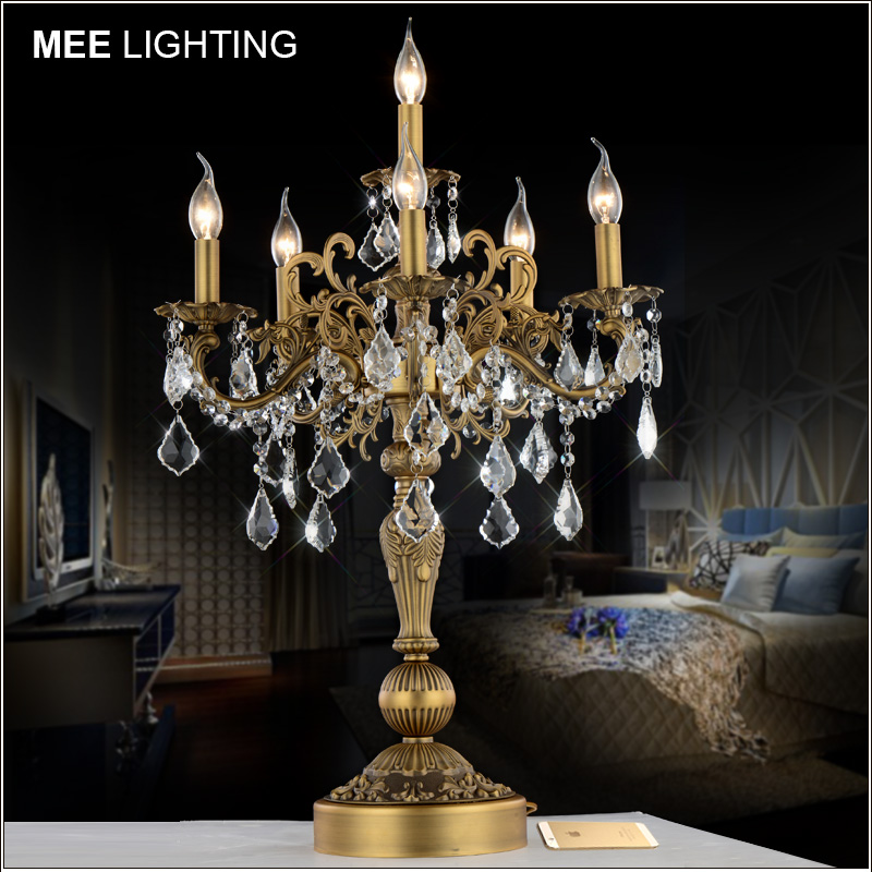 Vintage Bronze Silver color Table light Luxurious Clear crystal desk lamp with Wedding Candelabra for Hotel Restaurant lighting