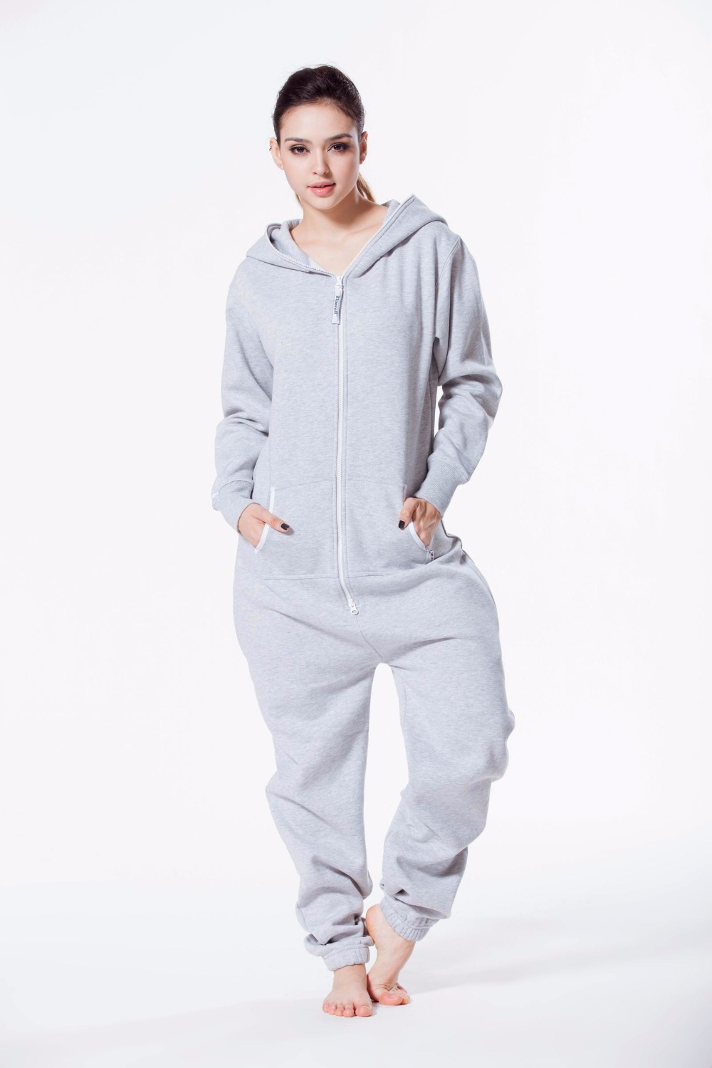 Zipperall One Piece Jumpsuit Unisex Adult Romper Hoody Fleece Playsuit All In Onzie Overall