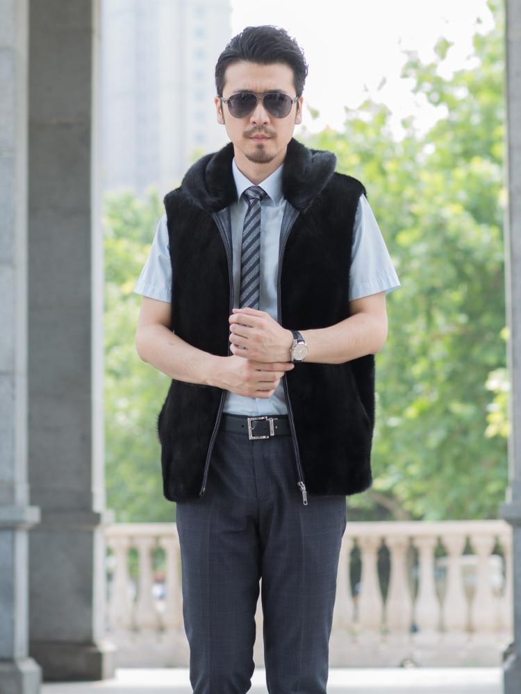 Noir Manteau Capuchon Collar Gilet black De 2018 Black Cap Fourrure Nouvelle À Vison Stand X0PU8w