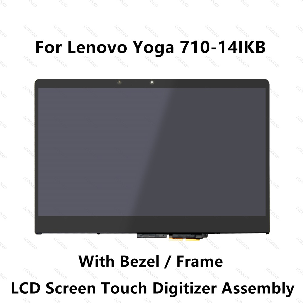 14 '' Untuk Lenovo Yoga 710-14ISK 80TY Full Screen LCD Display Touch Glass Panel Digitizer Assembly with Bezel 1920x1080 30 Pin