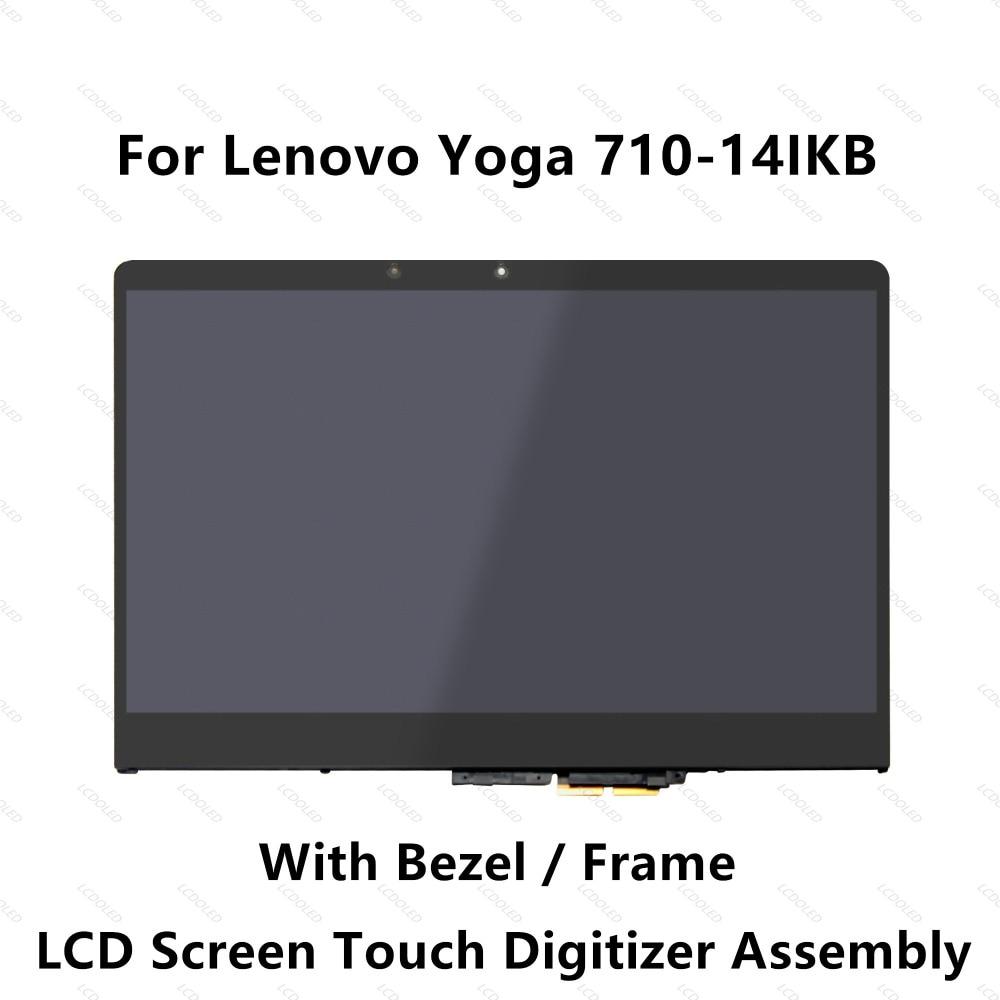 14 ''per Lenovo Yoga 710-14ISK 80TY Visualizzazione A Pieno Schermo LCD di Tocco di Vetro Panel Digitizer Assembly con Lunetta 1920x1080 30 Spilli