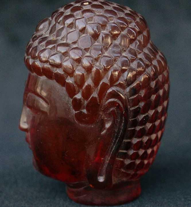 """4 """"Buddhismo Cinese Ambra Shakyamuni Amitabha Sakyamuni Buddha Testa Statua Busto"""