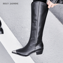 Black Cow Leather Knee High Boots Pointed Toe Rubber Footwear Thick High Heels Female Boot Fashion Shoes Woman 2019 Winter New