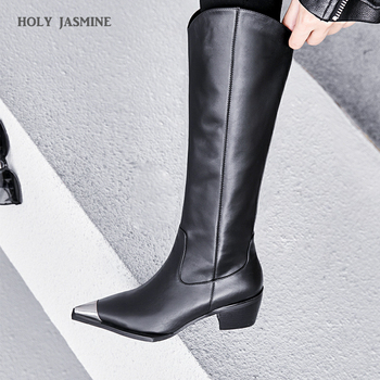 Black Cow Leather Knee High Boots Pointed Toe Rubber Footwear Thick High Heels Female Boot Fashion Shoes Woman 2019 Winter New wetkiss plus size 32 45 high heels women boot zip footwear round toe cow leather female boot knee high shoes woman 2018 winter