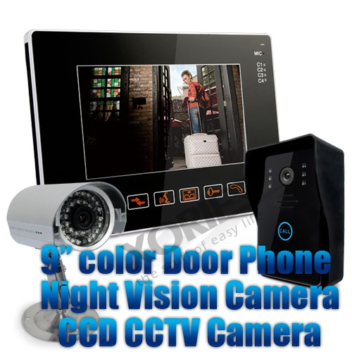 Доставка ЕС HOMSECUR 9 ЖК ИК телефон двери дверные звонки домашняя система безопасности + 1CCTV камера для мониторинга - 1