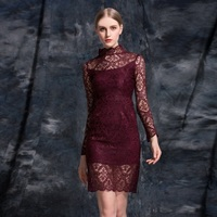 Lace Dress New Designer Clothing Spring 2017 Woman Allover Hollow Out Crochet Lace Bodycon Sheath Tight Dress Red Wine Color