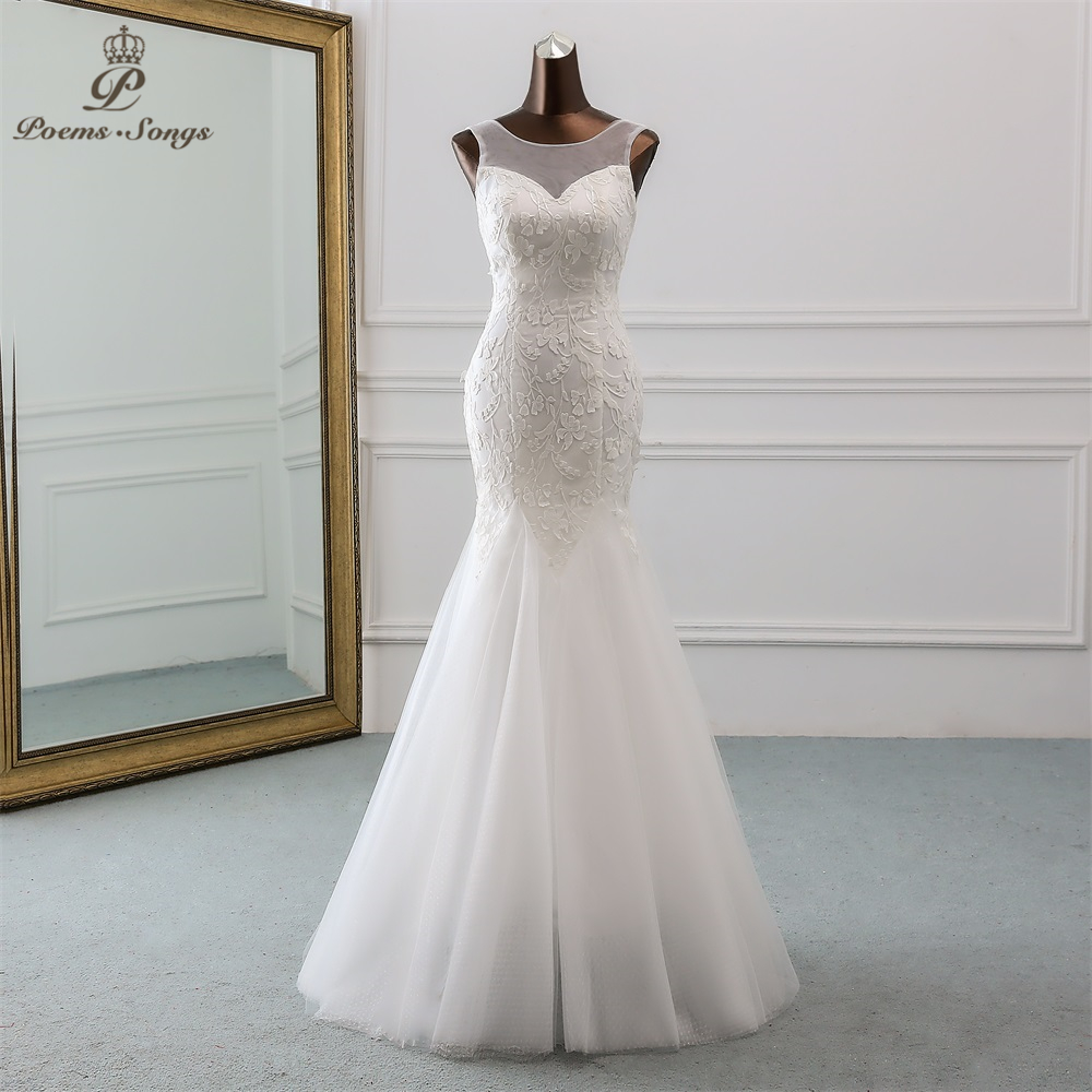 PoemsSongs Sexy backless sequined lace wedding