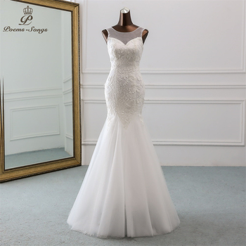 PoemsSongs Sexy backless sequined lace wedding dress 2020 robe mariage  Vestido de noiva Mermaid dresses mariee - discount item  50% OFF Wedding Dresses