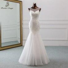Сексуальное свадебное платье PoemsSongs с открытой спиной и блестками, 2020, свадебное платье русалки