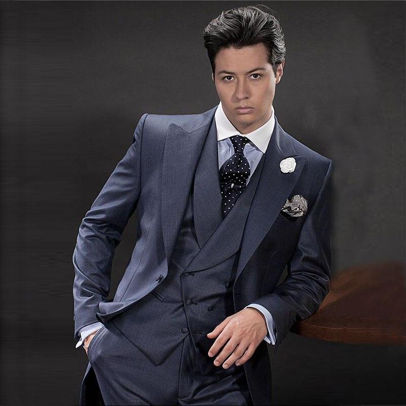 Мужской костюм для свадьбы темно синего цвета на заказ классический мужчин