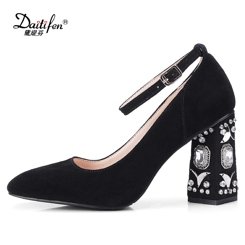 Daitifen Spring New women shoes Office lady Elegant super high Heel with Rhinestone Kid Suede Pumps Solid Buckle women shoes 2017 new fashion brand spring shoes large size crystal pointed toe kid suede thick heel women pumps party sweet office lady shoe