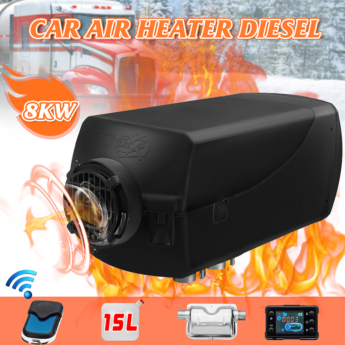 miniflower 5KW 2V//24V Car Heater Washer Diesel Air Heater Parking Heater with Remote Control LCD Monitor for steam Boat Bus LCD Latest Key Switch Silencer