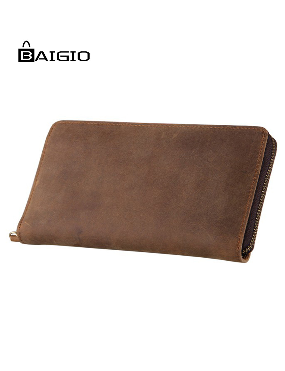 цены Baigio Men Vintage Crazy Horse Leather Wallet Zipper Brand Designer Card Holder Thin Wallet One Fold Long  Clutch Purse Wallet