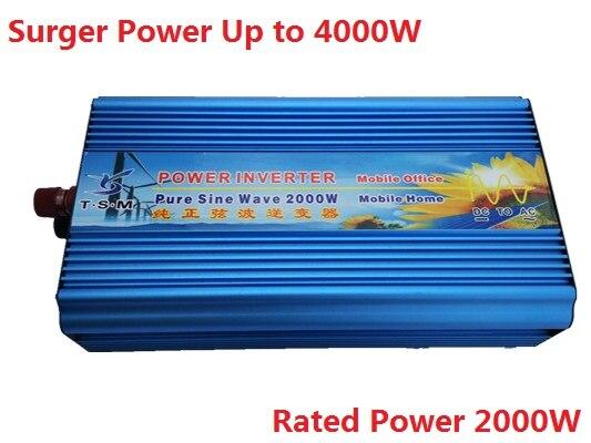 digital display 2000W 2KW Pure Sine Wave Inverter DC input 12V or 24V to AC Output 110V Or 220V peak power 4000W