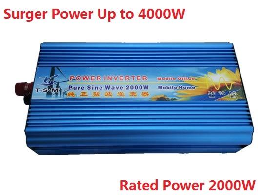 digital display peak power 4000W rated power 2000W 2KW Pure Sine Wave Inverter DC input 12V or 24V to AC Output 110V Or 220V