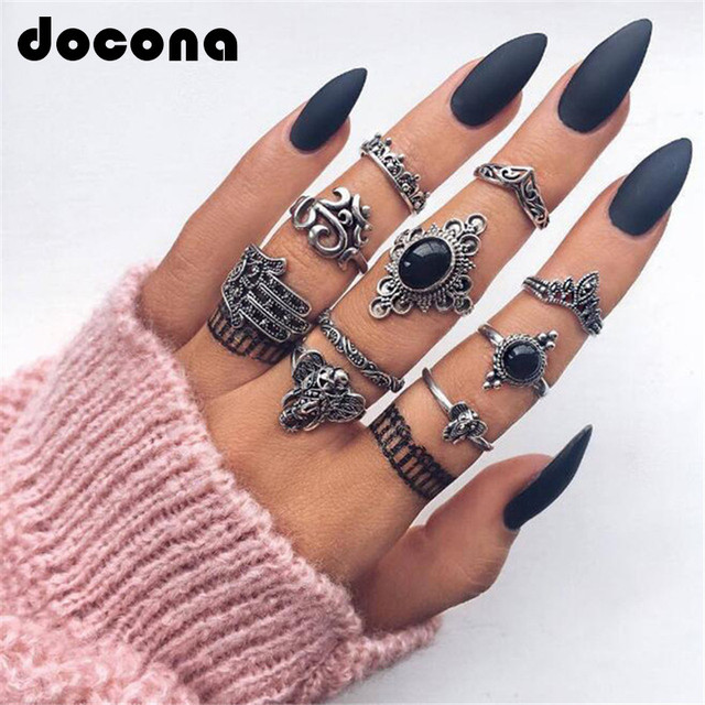 docona 10pcs/set Vintage Punk Black Opal Elephant Ring Set for Women Antique Carved Finger Rings Party Beach Rings 4561