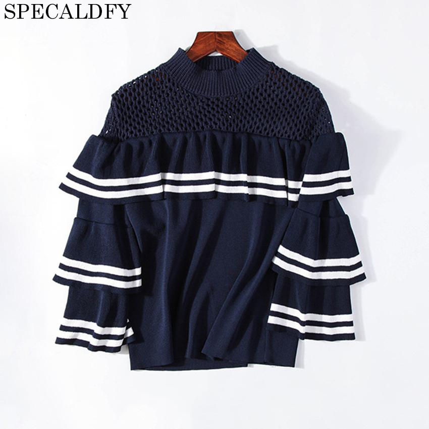 Luxury Designer BrandSweater 2018 Spring Autumn Fashion Women Sweaters And Pullovers Striped Ruffle Jumper Knitwear Jumper