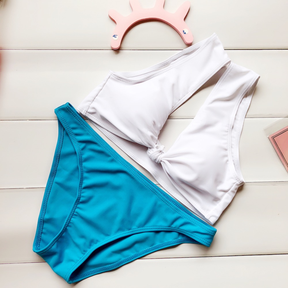 2017 Nuevo Bowknot Color sólido Bikini conjunto traje de baño