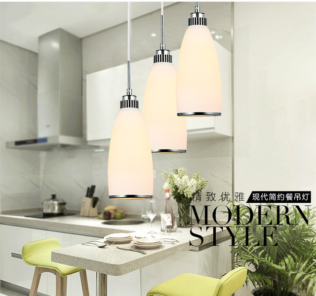 Pendant Lights Taobao Delivery Restaurant Modern Minimalist Fashion Three  Glass Dining Room Lamp LED Lamps 3