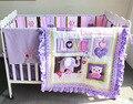 2014 Butterfly Pink Girl cuna cuna del lecho 4 items Includs edredón / edredón Bumper equipada, hoja de cuna, volante de polvo