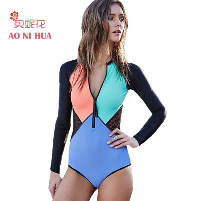 AONIHUA 2018 Mesh Front zipper bodysuit Women One Piece Swimsuit Surfing Patchwork Swimwear female Long sleeve swimming suit