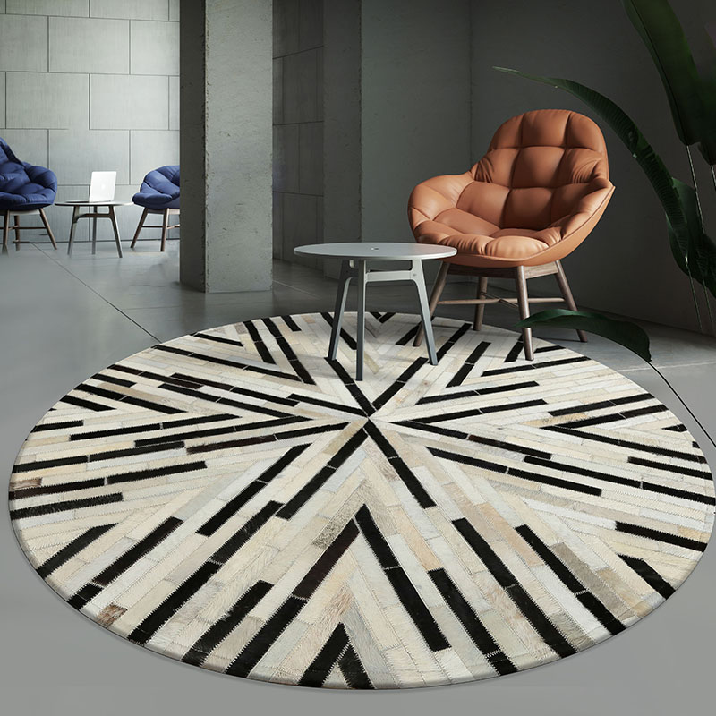 luxury cowhide seamed striped rug , round shaped real cow skin patchwork carpet for living room bedroom decoration rug