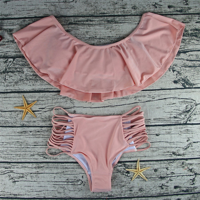 Summer Swimwear Women One Shoulder Swimsuits High Waist Bathing Suit Pink Swimming Suits Pad Design