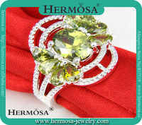 925 Sterling Silver Hermosa Jewelry Pretty Green Peridot Women Pary Cluster Ring Sz 8 Free Shipping