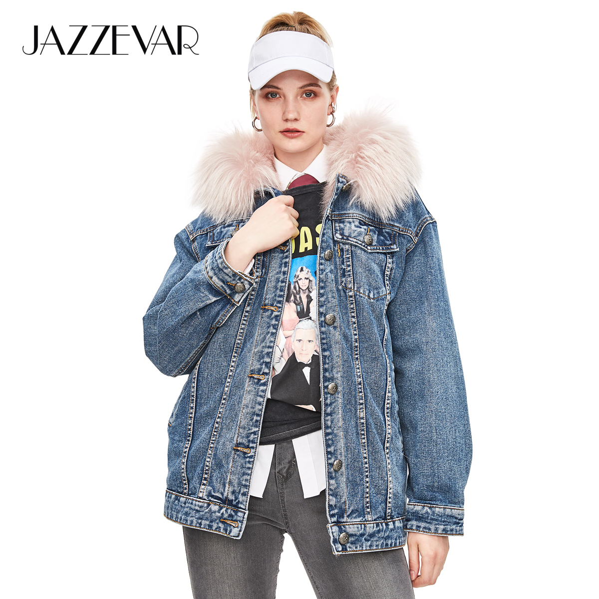 1f8038ef6d JAZZEVAR 2018 New Winter High Fashion Street Womens Denim Jacket Large Raccoon  Fur Parka Detachable Fur lined Hooded Coat-in Real Fur from Women's  Clothing ...