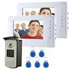 IL TRASPORTO LIBERO 7 Monitor a colori Video Citofono Del Portello Phone System Con 1 Bianco 2 RFID Card Reader HD Campanello 1000TVL Fotocamera