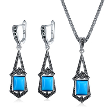 Ajojewel Vintage Black/Light Blue Resin Jewelry Sets For Women High Quality Long Necklace Earrings Anniversary