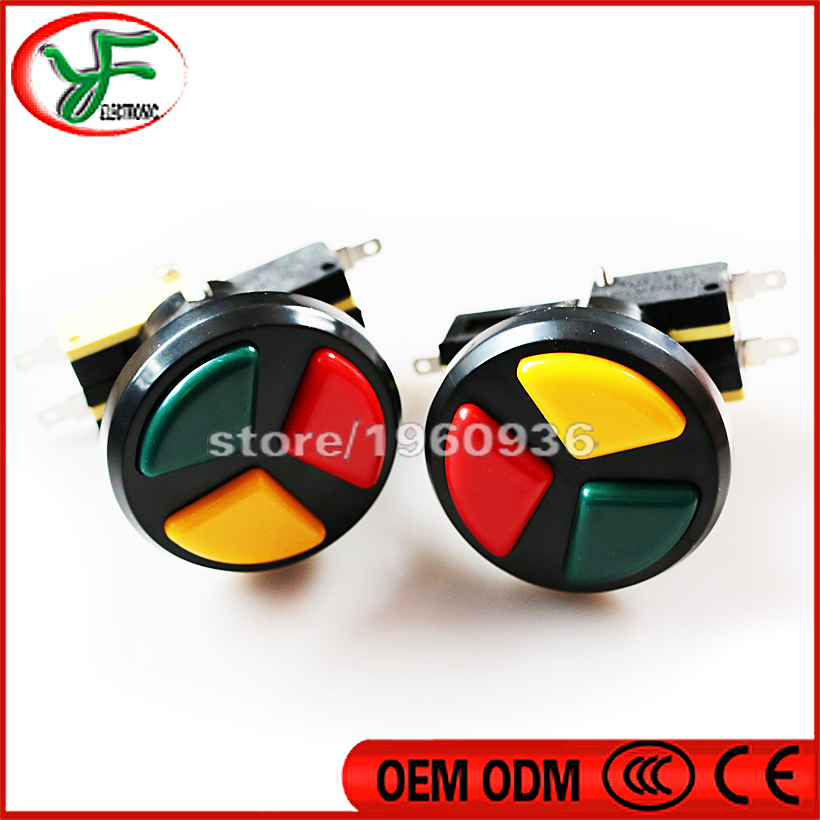 10PCS Jamma Arcade 3 in 1 Round Push Button with high quality micro switch for arcade game machines Triple Colors(China)