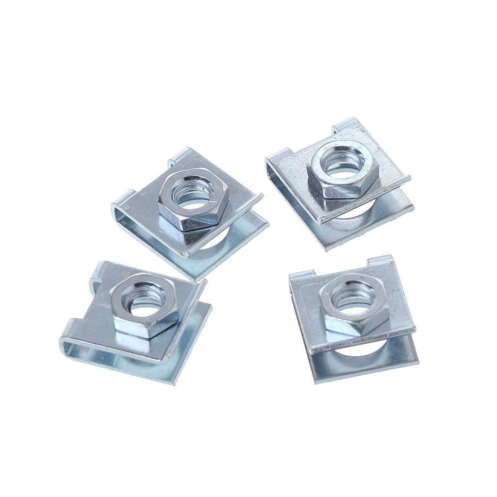 4 Pcs Car License Plate Fastener Buckle Metal Screw Nut U-type Clips Retainer 6mm