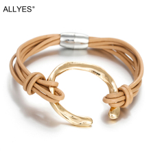 ALLYES Genuine Leather Women Bracelet Jewelry 2019 Fashion Round Metal Charm Bohemian Multilayer Wrap Bracelets & Bangles Femme