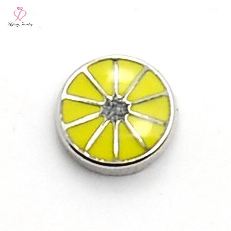 new style enamel yellow Waterwheel floating charms for living glass memory glass lockets FC188