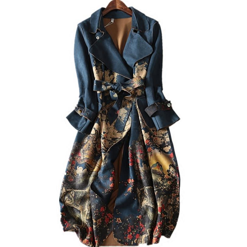 2018 autumn and winter suede long-sleeved   Trench   Coat Women plus size