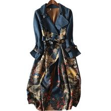 autumn and winter suede long-sleeved Trench Coat Women plus