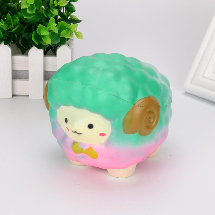 New Cute Squishy Jumbo Cartoon Sheep Slow Rising Straps Pendant Anti Stress Soft Squeeze Cream Scented Bread Cake Kid Toy Gift
