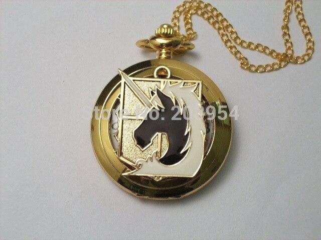 New Attack on Titan Military police regiment Pocket Watch 1pcs/lot quartz handmade golden case Cosplay steampunk christmas gift
