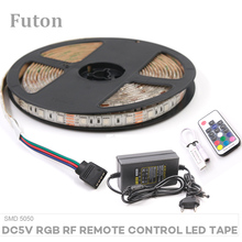 5m DC 5V Wireless RF Remote Control RGB LED Light Strip With Adapter SMD5050 Waterproof Flexible LED Tape For Decoration цены онлайн