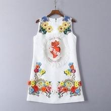 High quality embroidered rhinestone sleeveless dress Summer floral  jacquard mini dress G171 floral embroidered jacquard bodice smock dress