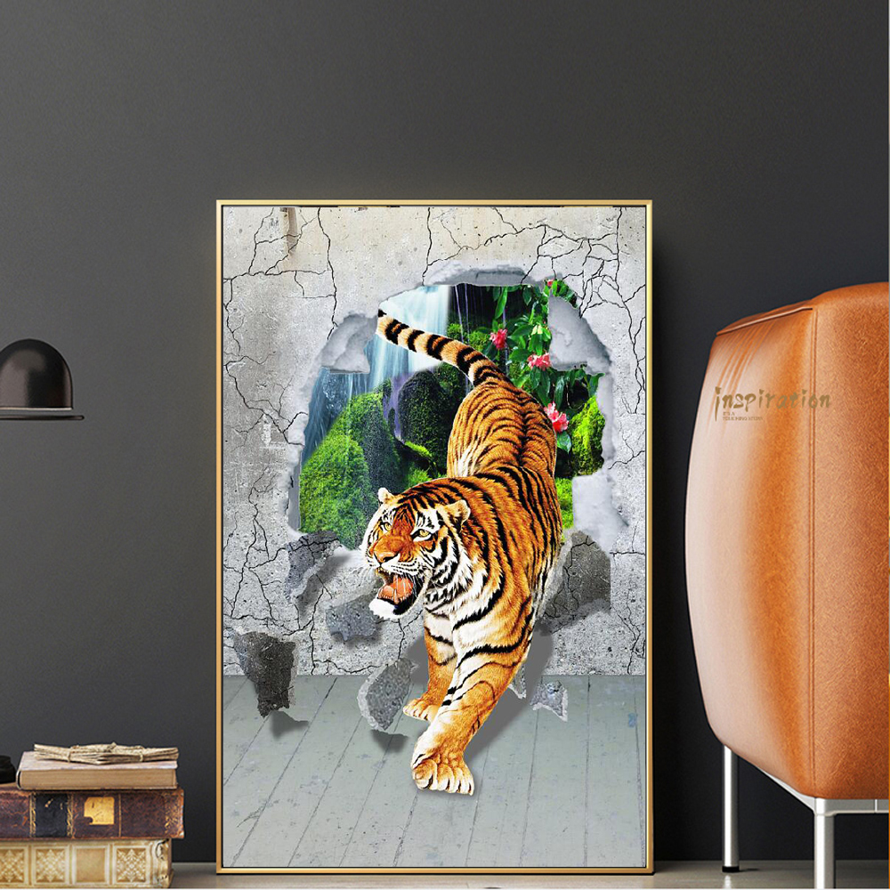 Tiger Down The Mountain Canvas Paintings Abstract Tiger