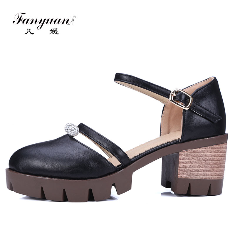 New 2018 Sweet Lolita Shoes Chunky Pumps Crystal Buckle Strap Ladies High Heels Ankle Strap Vintage Round Toe Spring Shoes spring autumn chunky 4cm low heels sweet bow lolita girls shoes pincess round toe vintage shoes plus size
