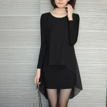 S-5XL Plus Size Women Clothing Black Women Dress Sexy Club Long Sleeve Tshirt  Chiffon Dress Loose Bodycon Autumn Dresses
