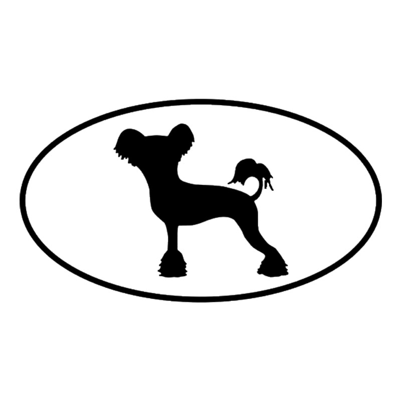 12.7*7.2CM Chinese Crested Dog Vinyl Decal Reflective Car Stickers Car Styling Accessories Black/Silver S1-0454