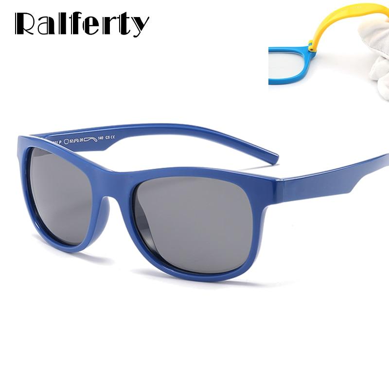 44a7967b086d8 Ralferty 2018 Flexível Crianças Óculos Polarizados Meninas Menino Óculos de  Sol UV400 TR90 Quadrado Criança Óculos