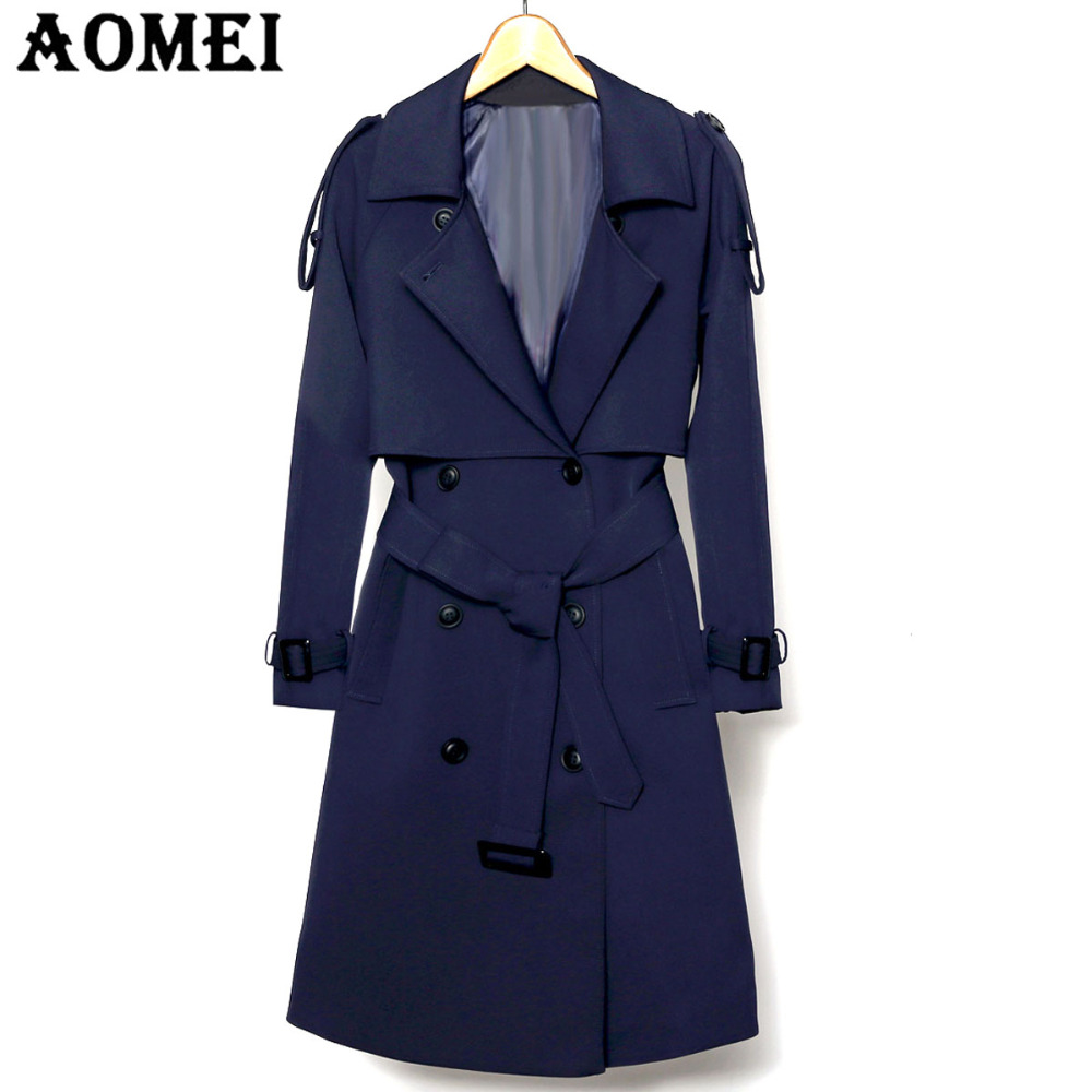 Women Spring Elegant Long Wind Coat with Belt Navy Blue Solid Color Long Sleeves Tops Sexy