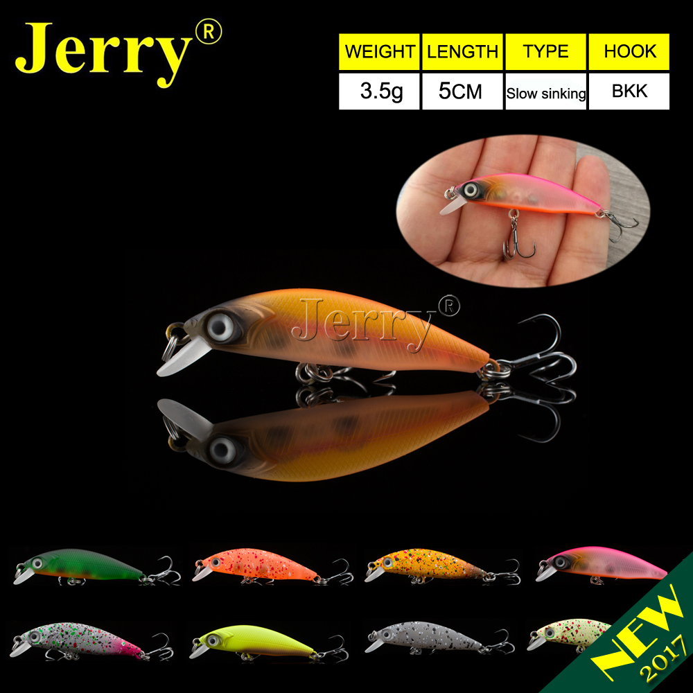 Jerry 5cm ultralight spinning fishing lures micro minnow lure hard bait slow sinking jerkbait crankbait trout bass lures цена 2017