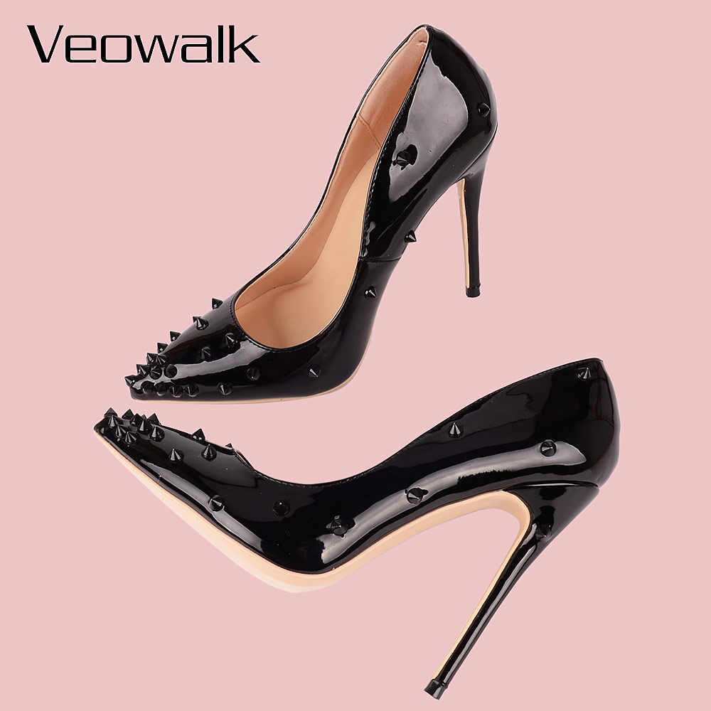 6749f38970650 ... Veowalk Rivets Women Sexy Extreme High Heels Fashion Ladies Patent  Leather Pointed Toe Stiletto Pumps Shoes ...